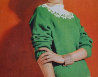 Ladys sweater fair isle jumper vintage knitting pattern pdf INSTANT download pattern only pdf 1960s