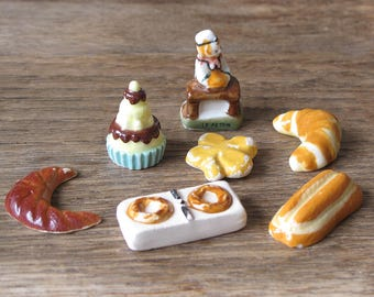 French Feves Porcelain Glazed - french bred and dessert- french baker, Pastries Display - miniatures King Cake Baby Doll House Miniatures