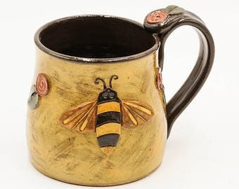 Bee Mug | Bumble Bee Mug | Honey Bee Mug | Pottery Mug | Ceramic Mug | Stoneware Mug | Handmade Pottery | Bee Lover Gift | Beekeeper Gift