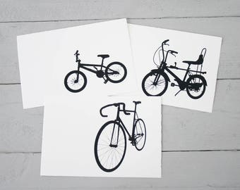 Postcards Set bike love, 3 pieces, road bike, Chopper, BMX bike, gift for bike lovers