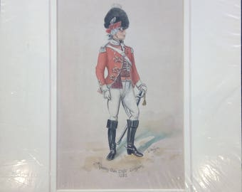 Vintage hand coloured print,By D.Wilson Dragoons 1783