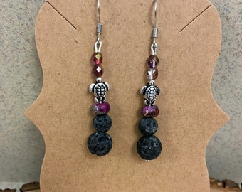 Hypoallergenic Aromatherapy Earrings, Essential Oil Diffusing Earrings, Diffuser Earrings, Lava Earrings, Lava Bead Jewelry, Turtle Earrings
