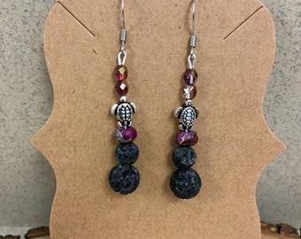 Hypoallergenic Aromatherapy Earrings, Essential Oil Diffusing Earrings, Diffuser Earrings, Lava Earrings, Lava Bead Jewelry, Turtle Earrings