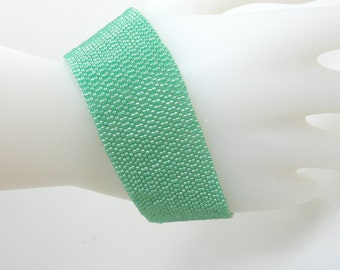 Minted Handwoven Beaded Cuff