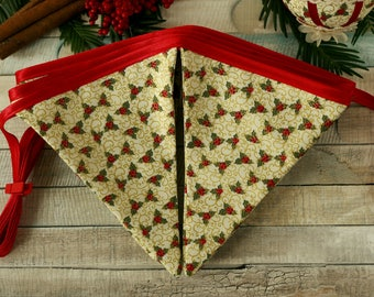 Christmas bunting, fabric banner, Yule decor, holly decoration, traditional Christmas decor, vintage Christmas, holiday garland, party decor