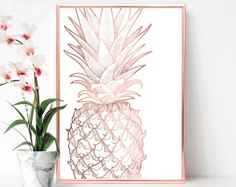 Printable Pineapple Poster, Large Vertical Art, Rose Gold Poster, Rose Gold Pineapple Print, Pink Gold Wall Art, Large Modern Print