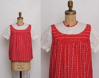vintage 60s maternity blouse   red and white top