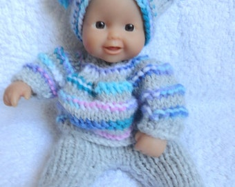 "Hand Knitted Dolls Clothes for 8""  OOAK  Doll (# 9)"