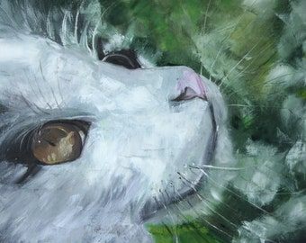 Original Oil Art Spring Cat Painting Inspire Oryginal Idea Home Decor painting Cat gift Cat decor Cat lady gift for mom, mothers day gift