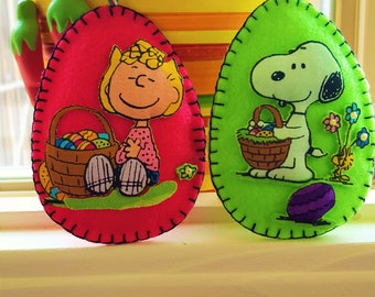 Peanuts Easter Eggs Decorations-Snoopy & Sally Easter Decorations-Easter Egg decor-Easter applique gifts-TWO 3D Felt and fabric Easter Eggs