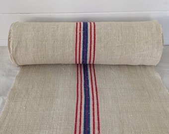 Red and Blue Striped Linen for Tables Upholstery Projects Vintage Fabric Handmade Linen - By The Metre