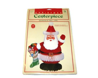 "Vintage Christmas Amscan Hallmark Santa Decoration Honeycomb Die Cut Centerpiece Ornament Folding Figure Unopened Tissue paper 11"""