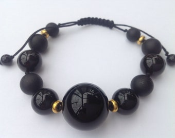 Onyx and sterling silver plated bead Bracelet
