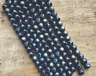 Navy Polka Dot Czech Beads- DIY Jewelry