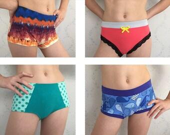 Feminine Ladies Underwear PDF Sewing Pattern, multiple styles in one pattern, Panties PDF Instant Download, sizes XS-3XL