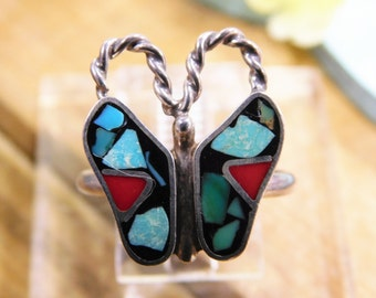 Colorful Butterfly Mosaic Inlay Ring- size 7