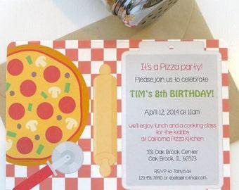 Pizza party invitation, pizza birthday party, cooking, eco friendly invitation, custom invitations, gender neutral birthday party, set of 10