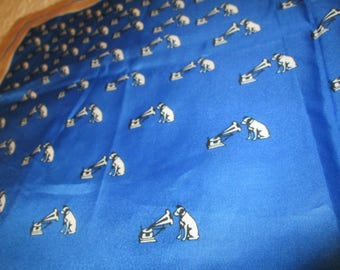 """Vintage Nipper Dog Scarf - Victor """"His Master's Voice"""" logo Recording Industry RCA"""