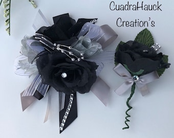 Wrist  Corsage/ prom corsage/ Black and gray Wrist corsage