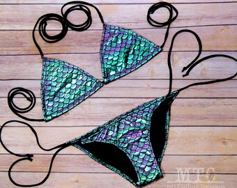 Iridescent Green Purple Mermaid Scales Bikini Bra Top Tie Waisted Rave Set MTCoffinz - Choose Size (Separates available)