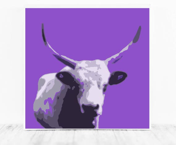 Purple Cow Print (Ultra Violet Art) for Instant Download