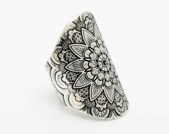 lotus ring | mandala jewelry | bohemian jewelry | lotus jewelry | mandala ring | saddle ring | silver ring | statement ring | bohemian ring