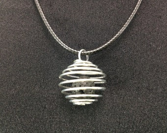 Diffuser Necklace   Handmade Silver Spiral Orb