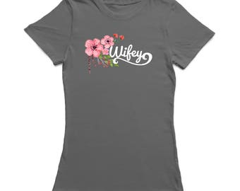 Wifey Hanging Down Flowers Graphic  Women's Charcoal T-shirt