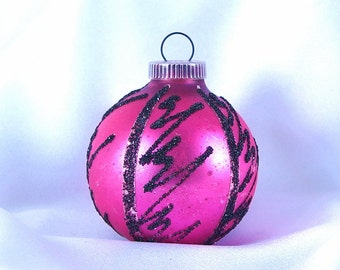Vintage Christmas Ornament, Hot Pink with Black Scribbles Holiday Ornament from West Germany