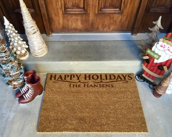 Personalized Christmas Door Mats – 2 Shapes, 2 Designs!