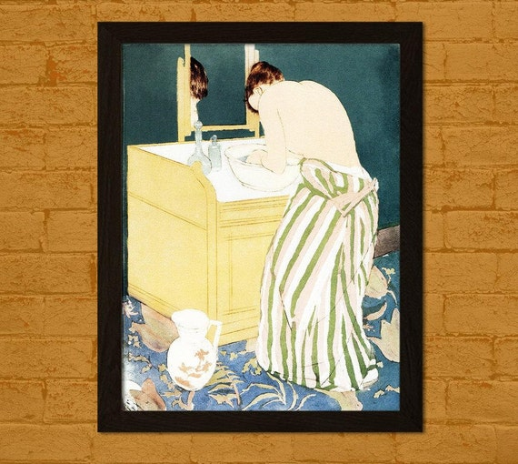 Bamboo Paper Japanese Art Print Woman Bathing 1890 M Cassatt