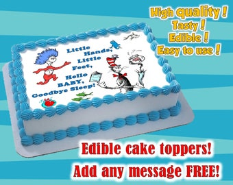 dr Seuss Edible cake toppers. Perfect for Baby showers (girl,boy, twins) and birthday parties. Sugar sheet decoration party supplies.