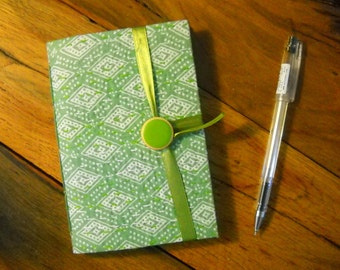Handmade journal notebook, hand bound, lined paper for writing, Green White, fabric cover, stitches, journal diary, blank book