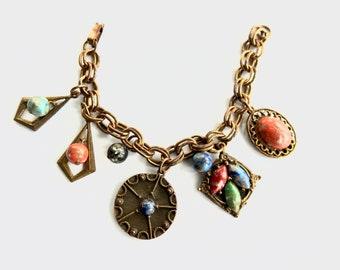 Lucite Cabochon Charm Bracelet