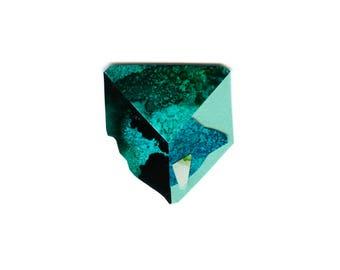 The Teal (Chrysocolla) crystal. A4 print of sashamareedesign alcohol ink collage original art.
