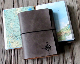explorer travel journal, handmade with maps - charcoal gray faux leather - wanderlust adventure journal - tremundo