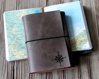 Explorer-Reise-Journal, mit Karten - Kohle grauem Kunstleder - Fernweh-Abenteuer-Journal - tremundo