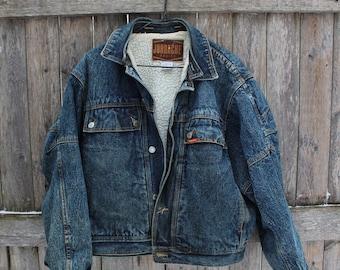 Jordache Shearling Lined Acid Wash Denim Jacket