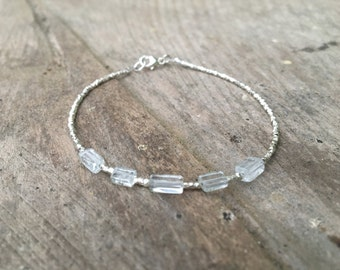 Aquamarine and Karen Hill Tribe Silver Bracelet, Beaded bracelet, Gemstone bracelet, March Birthstone bracelet