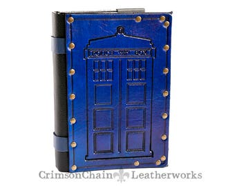 Police Box sketchbook cover by Crimson Chain Leatherworks