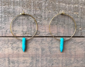 Small Blue Howlite Point Hoops