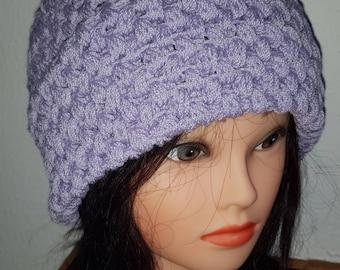 Hand Crochet Hat  In Liliac
