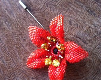 Red Flower Brooch/Hat/Hair/Lapel Pin. One of a Kind. Beadstitched by hand with Swarovski Crystals, Japanese & Czech Seed Beads.