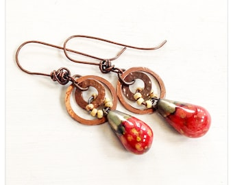 Persephone - red ceramic drops - copper hoop earrings - red and yellow ceramic earrings