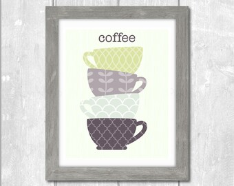 Stacked Coffee Cups Designer Original 8 x 10 Typography Art Print - Lavender Lilac Sage Cream - Frame It Yourself