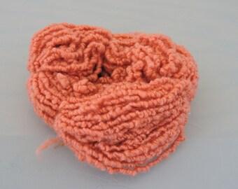 Hand Spun Elastic Yarn Kid Mohair Merino Salmon Orange 18-3-20