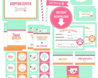 Printable Kitten & Puppy Party Collection Kit (INSTANT Download!) Favor Tags, Banner, Adoption Certificates, Labels, Cupcake Toppers