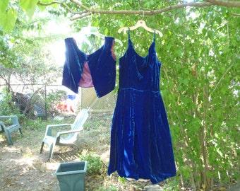 SALE! Vintage Blue Velvet Dress
