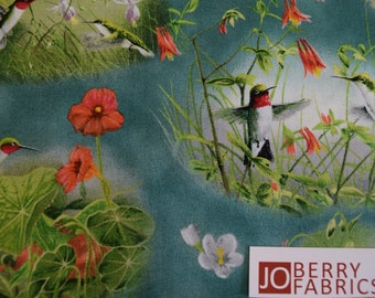 Humming Birds by Hautman for Quilting Treasures.  Quilt or Craft Fabric.  Fabric by the Yard.