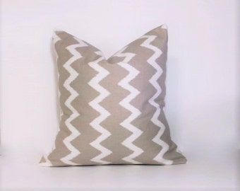 Tan & white pillow covers. Ikat Zigzag home decor throw pillows. Linen tan accent pillows. Neutral home decor pillows